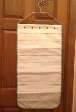 NEW 80 Pocket 2-Sided Hanging Jewelry Organizer Beige Clear Storage Bag Closet