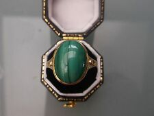 Men's/Women's 9ct Gold Vintage Malachite Stone Ring Size S Weight 4.1g Quality