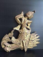 Antique Burmese carved Deva wood panel