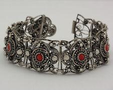 Armband in aus Silber mit Koralle Armreif Armspange Silberarmreif Silberarmband