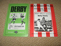 2 Derby County v Southampton football programmes from early 1970's