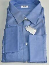 NEW Brioni Blue Shirt Dress Button Down Long Sleeve FRENCH CUFF 17 3/4 45