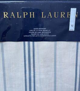 """Queen Bedskirt Isla Menorca Ralph Lauren Blue Stripes 18"""" Drop New In Package"""