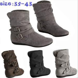 Women's Retro Keep Slouch Boots Warm Buckle Strap Suede Bandage Ankle Shoes New