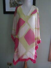 ANALILI Pink Green White Silk V Neck Tunic Dress Cover Up Size M/L
