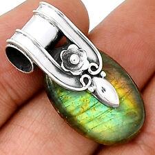 Spectrolite Labradorite From Finland 925 Silver Pendant  Jewelry PP37752