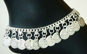 * New INDIA BOHO Coin Hippie SILVER Drop ANKLET Belly Dance Handcrafted