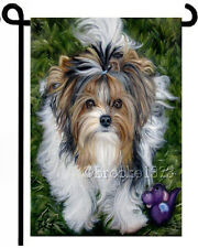 BIEWER Terrier Puppy parti YORKIE painting GARDEN FLAG Dog ART TIKI