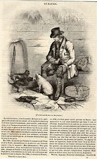 LE RATIER ANGLAIS CHASSEUR DE RATS PRESS ARTICLE RAT HUNTER ENGLAND1841 PRINT