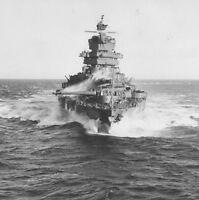 B&W WWII Photo US Navy USS Idaho Pacific Kwajelin WW2 World War Two Pacific