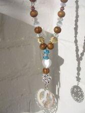 Edle lange Kette * versilbert Perlmutt PEACE Türkis * FF Diamonds Halskette NEU!