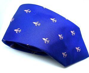 "Charles Tyrwhitt Men's Tie Blue Fleur De Lis 100% Silk Width 3.5"" Length 60"""