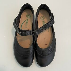 NAOT Woman's Size 38 Mary Jane Black Leather Comfort Shoes Flats Slip On Casual