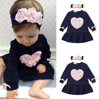Newborn Infant Baby Clothes Girl Floral Heart Princess Dress Headband Outfit Set