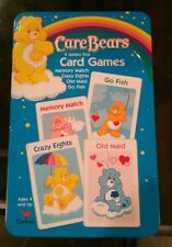 Care Bears 4 Jumbo Size Card Games in a Tin from 2004 Metal Memory Old Maid Fish