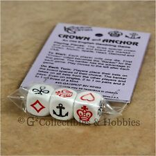NEW Crown and Anchor Old English Gambling Game Dice Set
