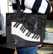 Piano Keyboard Black/White Tote Bag - Music Gift - Musical Shopping Bag