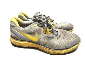 Womens Nike Lunarlon Running Livestrong Wolf Grey Yellow Shoes 454514-070 US 9