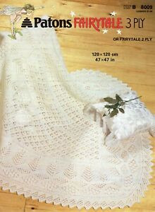 """Patons 8009   Baby's Lacy Shawl with tree of life pattern 3 Ply or 2 Ply :47x47"""""""