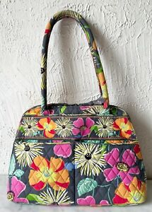 Vera Bradley Bowler Hand Bag Purse Rigid Handles Jazzy Blooms Retired Pattern