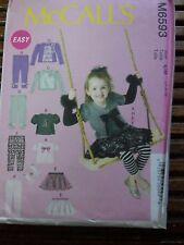 6593 McCalls Toddlers Top Ruffled Skirt Leggings Arm Warmers Pattern Sz 1 2 3 UC