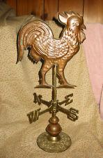 "Vintage 19"" Functional Aged Copper 3D Rooster Weathervane Cast Brass Base"