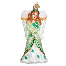 POINSETTIA BABY OLD WORLD CHRISTMAS MOUTH BLOWN GLASS ANGEL ORNAMENT NWT 10184