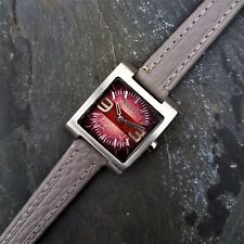 Womens Retro Fossil Watch with Unique Dial and New Grey Italian Leather Strap