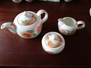 Royal Doulton Expressions Sunburst Teapot,  Lidded Sugar bowl and Milk jug