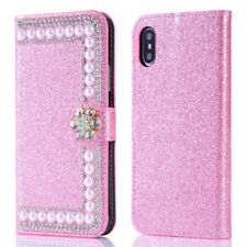 Luxury Bling Pearls Diamond PU Leather Wallet Flip Women's Case Cover for iPhone