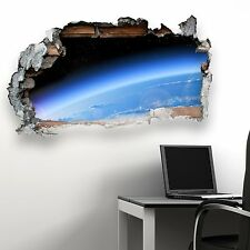 BROKEN WALL SPACE EARTH KIDS BEDROOM WALL STICKER VINYL TRANSFER MURAL DECAL