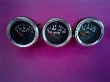 3 pc electrical gauges set - Volt gauge Water Temp Gauge Oil pressure gauge