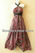 1D107 - Versatile Paisley Silk Multi Wear Scarf Long Maxi Halter Dress Maternity