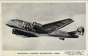 AVIATION :AIRCRAFT RECOGNITION CARD- Junkers Ju 90 -VALENTINES