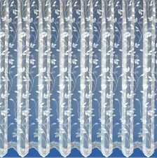 "LEAFY TRAILING LEAF DESIGN WHITE NET CURTAINS DROP: 30""-50"" x WIDTH: 1-10 METRES"