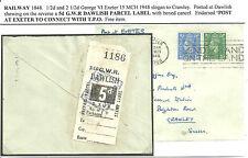 1/2D 21/D GEORGE VI EXETER 1948 5D GWR RAILWAYS PREPAID PARCEL LABEL DAWLISH