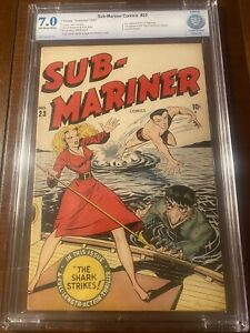 SUB-MARINER #23 1947 TIMELY CBCS 7.0 OW/W SHORES COVER - FIRST HAMMERHEAD! NICE!