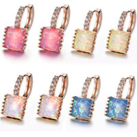 Newest Square Rainbow Blue Rose White Pink Opal Rose Gold Plated Dangle Earrings
