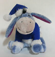 EEYORE IN BLUE & WHITE HAT AND SWEATER WINTER/CHRISTMAS PLUSH TOY