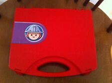vintage Playmobil storage/travel case Red Plastic Snap Closures Head Decal Cute