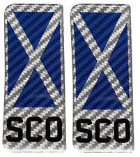 2x Scotland SCO Flag Steel Carbon Gel Domed Number Plate Decals 111x45mm
