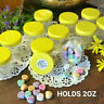 10 Clear JARS 2 ounce Container Plastic Yellow Screw On Cap 5307 DecoJars USA