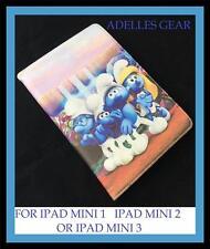 APPLE IPAD MINI 1 2 OR 3  COVER CASE -THE SMURFS  BLUE DESIGN