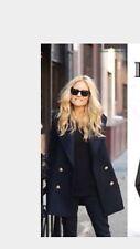 H&m Navy Coat Bloggers Unbuttoned Uk10 Oversized