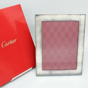 """CARTIER Picture Photo Frame Silver 9.1"""" x 12.7"""" with Box"""