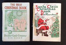 Lot of 2 Antique Vtg Santa Claus Best Christmas Book Plays Stories Poems Music