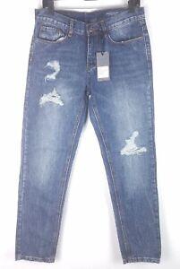 NEW Denim CoLab Saltwater & Song Byron Boyfriend Destroyed Wash Blue Jeans Sz 9