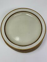 "Sango Rainbow Stoneware CAPRI 651 Set of 8 Salad Plates 7 1/4"" Brown Edge"