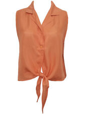 COCOON womens coral 100% silk tie front sleeveless casual blouse shirt size 16 L