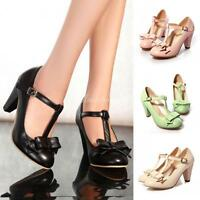 Lolita Womens Mary Jane T-Strap Heel Bar Bow Tie Dress Pumps High Heel Shoes New
